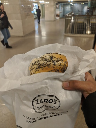 Fresh bagel & cream cheese at Grand Central Station